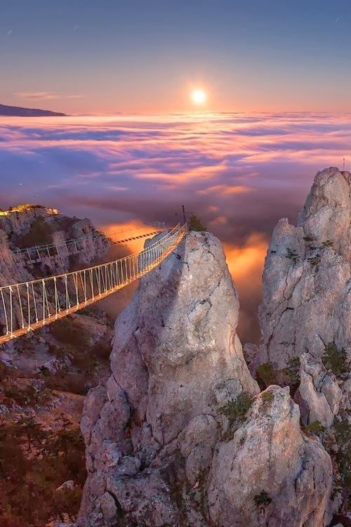 Suspended Footbridge, Crimea, Ukraine.