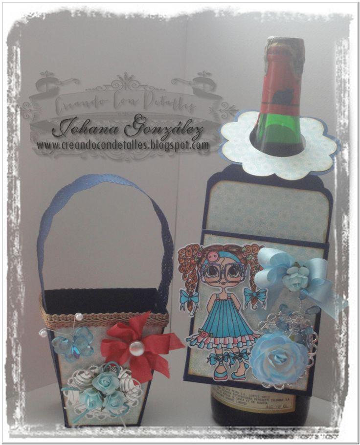 Canasta y tag para botella de vino