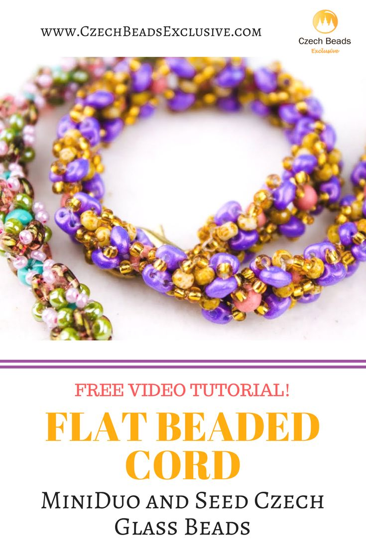 MiniDuo and Seed Czech Glass Beads - FLAT BEADED CORD Pattern Free Video Tutorial | SAVE it! | CzechBeadsExclusive.com #czechbeadsexclusive #czechbeads