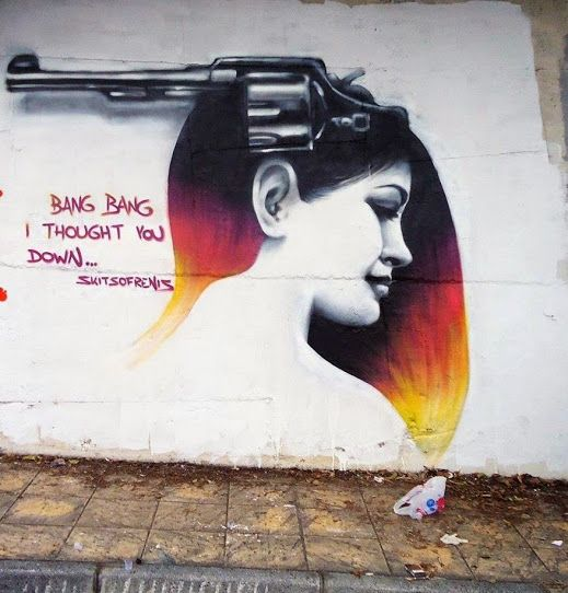 """Bang bang , i thought you down"" S treet art in Kavala, Greece, by artist Skitsofrenis."