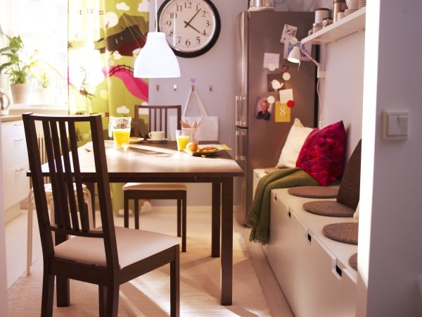 Small dining quarters? No problem. Try storage benches for extra storate and seating.
