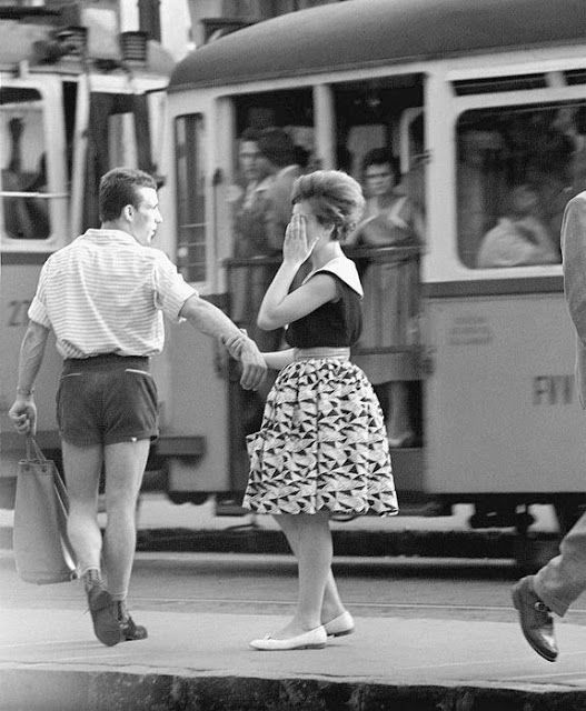 A couple break up at the tram stop, Budapest, 1961