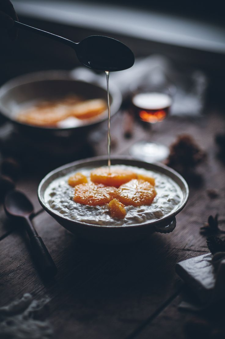 Rice Pudding with Cream & Marinated Oranges (to make for David Shame, he loves Rice Pudding)