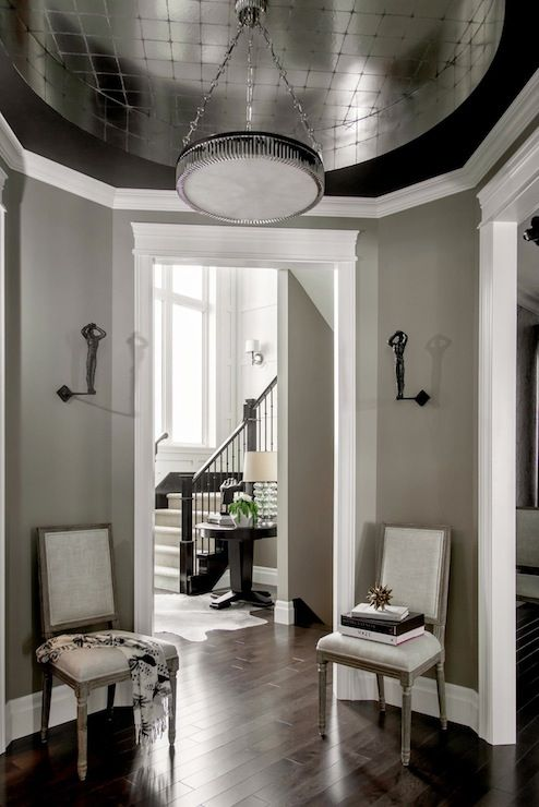Atmosphere Interior Design   Entrances/foyers   Gray Walls, Gray Wall  Color, White