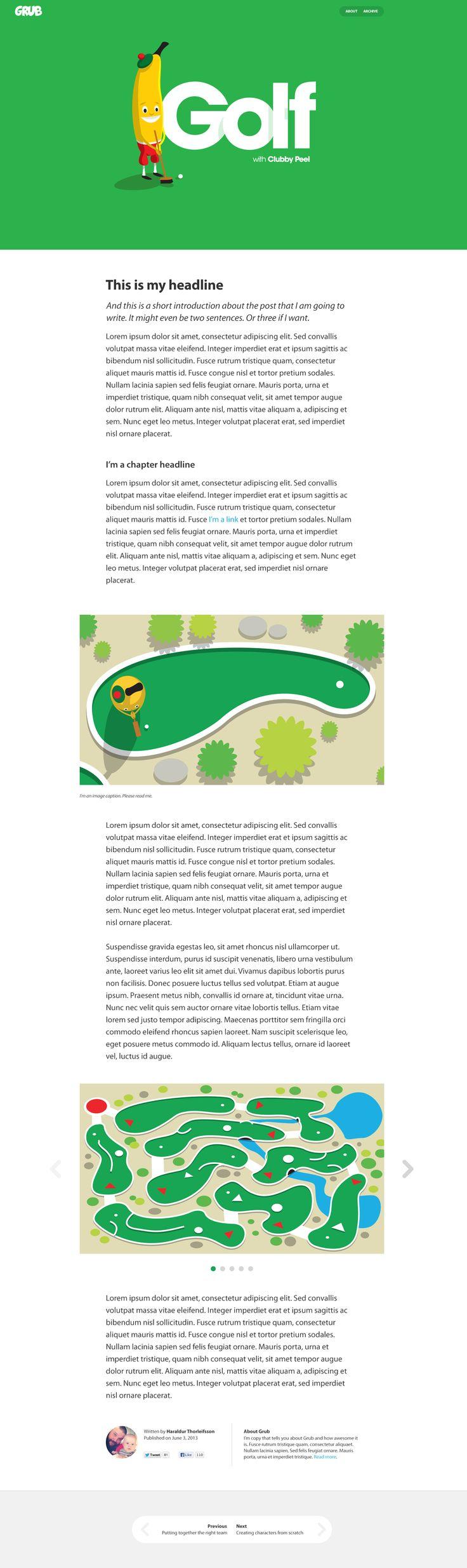 Grub Website Article Layout by Haraldur Thorieifsson