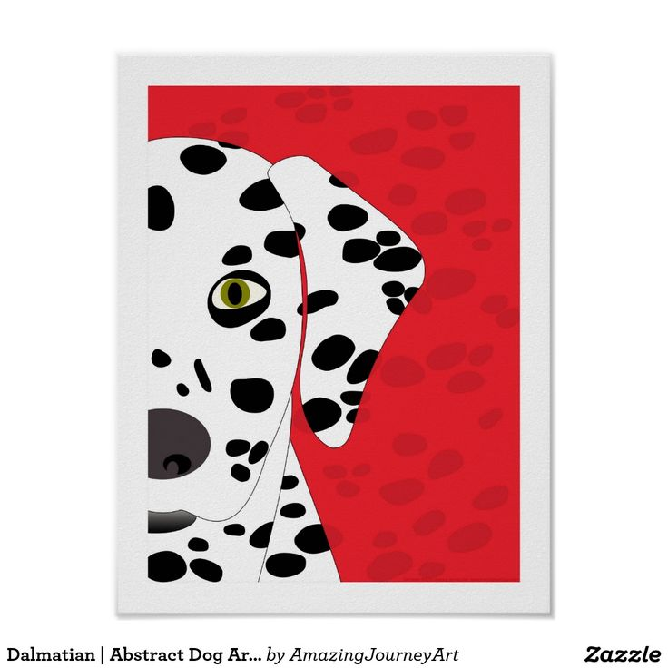 Dalmatian | Abstract Dog Art | Red, Black & White