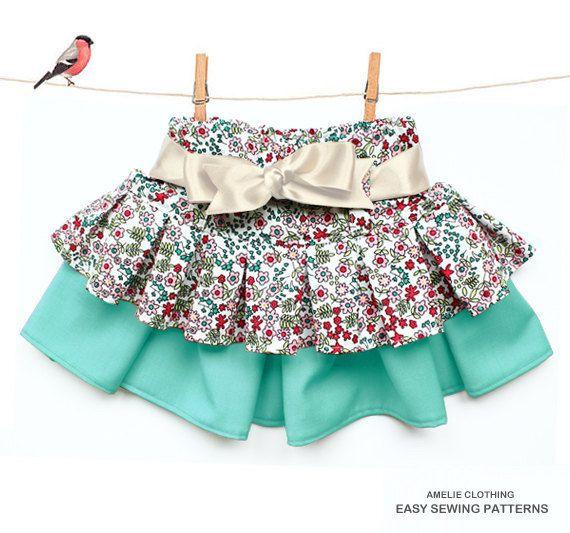 Girls Twirl skirt pattern - ONE skirt THREE styles - sizes 1 to 8 years on Etsy, $6.50