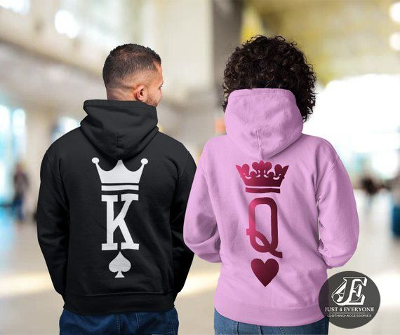 HOOD KING QUEEN CROWN 01 HOODIE JUMPER MR MRS valentines day Couple Matching