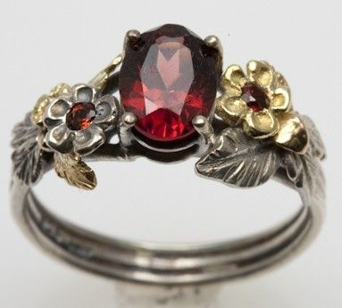 Garnet Engagement Ring in recycled silver and by FernandoJewelry
