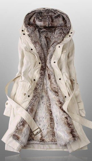 Beige parka- Someone get this for me please! Its gorgeous and it looks so warm and comfy!: