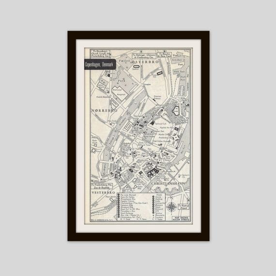 Copenhagen Denmark Map, City Map, Street Map, 1950s, 2 Sided, Brussels Belgium Map, Black and White, Brown