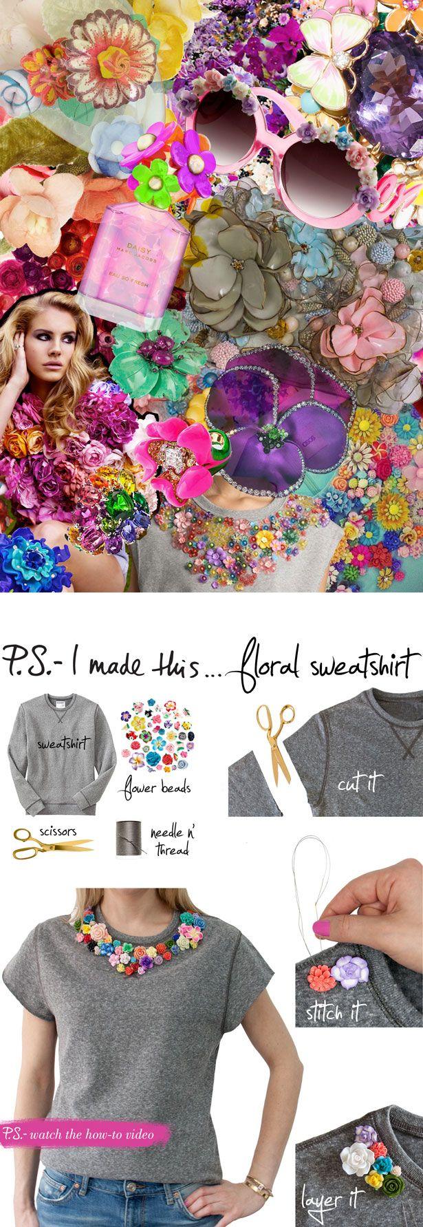 DIY para hacer una camiseta con flores http://youtu.be/YvCt2kV85ng