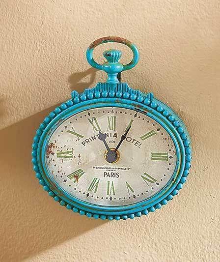 SMALL TEAL Vintage Pocket Watch Design Metal Wall Clock Bathroom Kitchen Bedroom