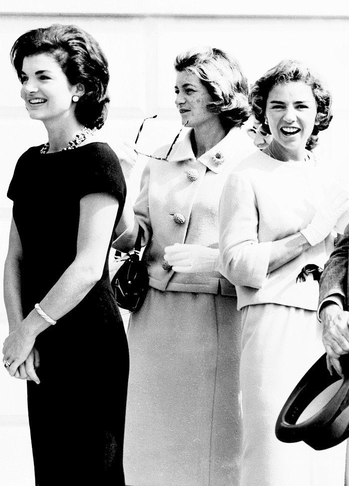 First Lady Mrs Jacqueline Kennedy, Jean Kennedy Smith and Ethel Kennedy photographed at the White House, 1961
