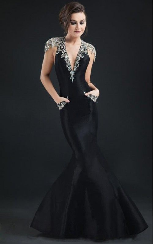 Tailored Mermaid Sweep Train Satin Cap Sleeves Evening Dress
