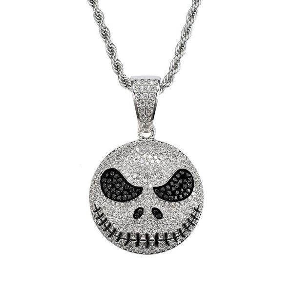 White Gold Iced Out Jack Skellington Pendant Black Gold Jewelry Skull Pendant Pretty Jewellery