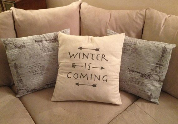 "Winter Is Coming, Quote Pillow, Arrow Decor, Decorative Throw Pillow, Game of Thrones, House Stark, Typography,  20"" x 20"" pillow on Etsy, $26.00"