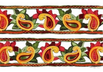 Wool Embroidery Lace Exporter . This awesome design is of Woolen Lace . Its product code is: 001063 , Its size is: 90 mm. Material used is 100% Polyester . This Woolen Lace comes with Plain decoration. As seen design pattern is Mango . Locally this lace is also known as Woolen Lace . This Wool Embroidery Lace Exporter item have 1 colors available in this design. This lace can also be used in Garments , Salwar Kameez , Saree Border , Wedding Lace etc.