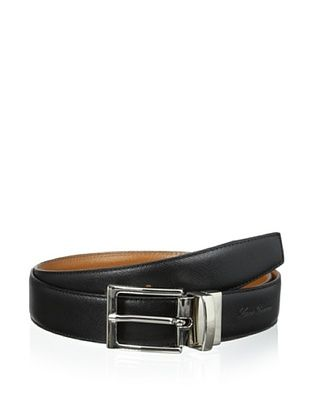 50% OFF Leone Braconi Men's Saffiano Reversible Belt (Black/Cognac)