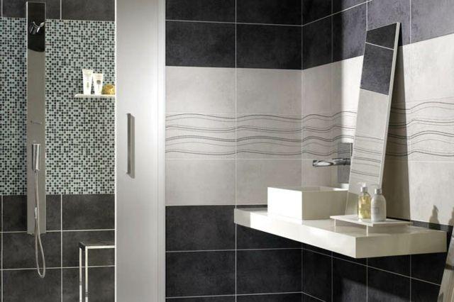 carrelage mural salle de bains - 87 idées élégantes - Salle De Bain Gris Et Noir