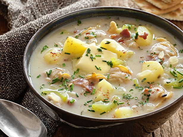 Low-Fat Clam Chowder from #FNMag: Soups, Food Network, Lowfat Clams, Healthy Clams, Clam Chowder Recipes, Low Fat Clams, Comforter Food Recipes, Clams Chowders Recipes, Foodnetwork