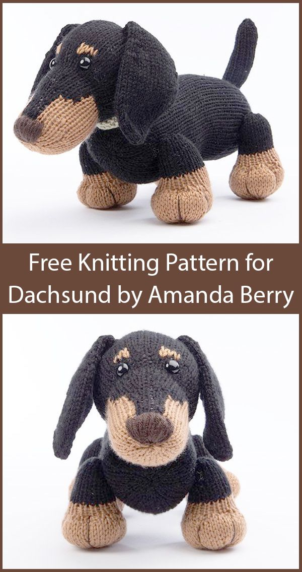 Free Knitting Pattern For Dachshund By Amanda Berry Toy Puppy