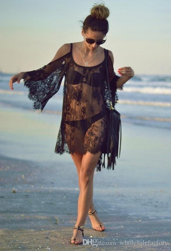 vestidos de playa hueco de encaje negro blanco desnudo de espaldas a medio-Largo sexy de chalecos con una parte superior