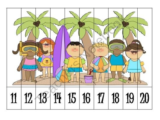 Summer Number Order Puzzles FREEBIE from Klever Kiddos on TeachersNotebook.com (6 pages)