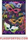 Mardi Gras Mask Garden Flag