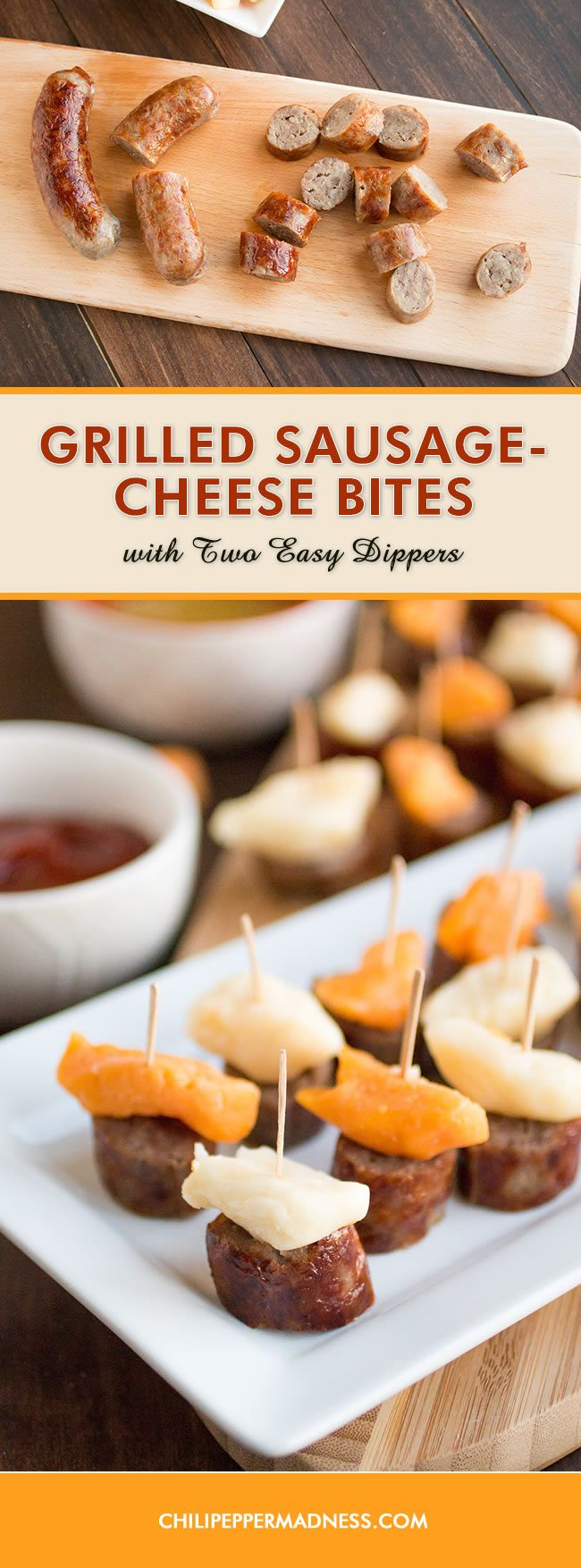 ... grilled sausage and cheese curd bites with two easy-to-make dippers