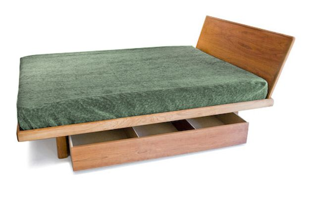 Floating Platform Storage Bed - options for headboards, drawers, height, wood color.