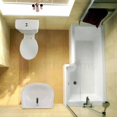 I still think the P shape bath is a great space-saving solution. If we had a wall instead of glass, the shower curtain would hide nicely away in the wider end too.