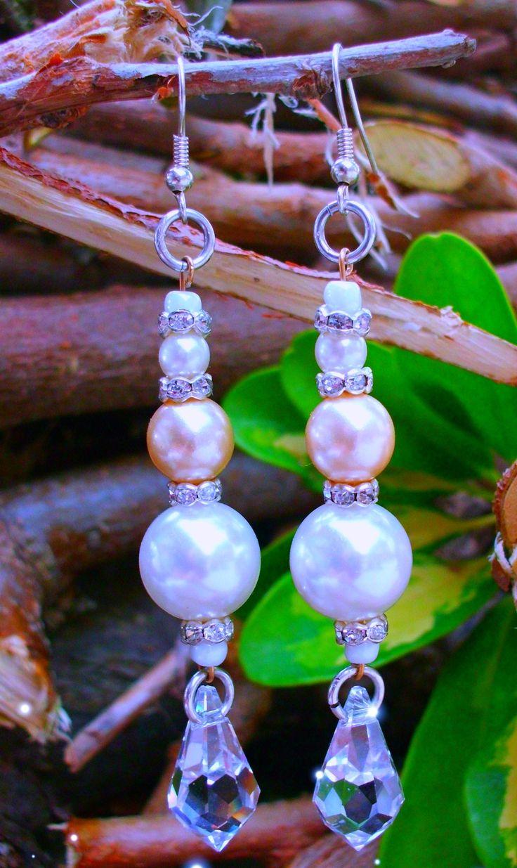 ray of sunshine earrings - pearl, rhinestone, brass fittings