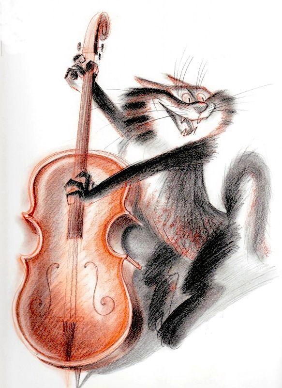 Открытка с днем рождения для скрипача с котиком, летием женщине