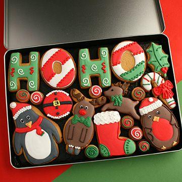 Christmas 'Ho Ho Ho' cookie gift tin - Custom Cookie Co (UK)