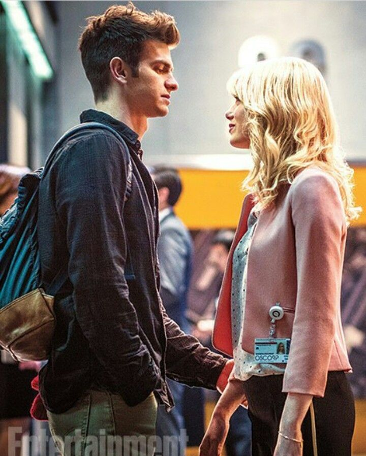 "Emma Stone and Andrew Garfield. On the sets of ""The Amazing Spiderman 2"""