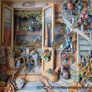 心情、生活、及Paper tole~歐式立體紙雕的收藏與分享。 到後頭來每樣小東西幾乎都是做上一天的時間(椅子除外...) 而樓梯則是分割後喬好幾天後才一口氣架上去的 很有趣~這是我第一次架旋轉樓梯喔 其實他的作法跟以往做過