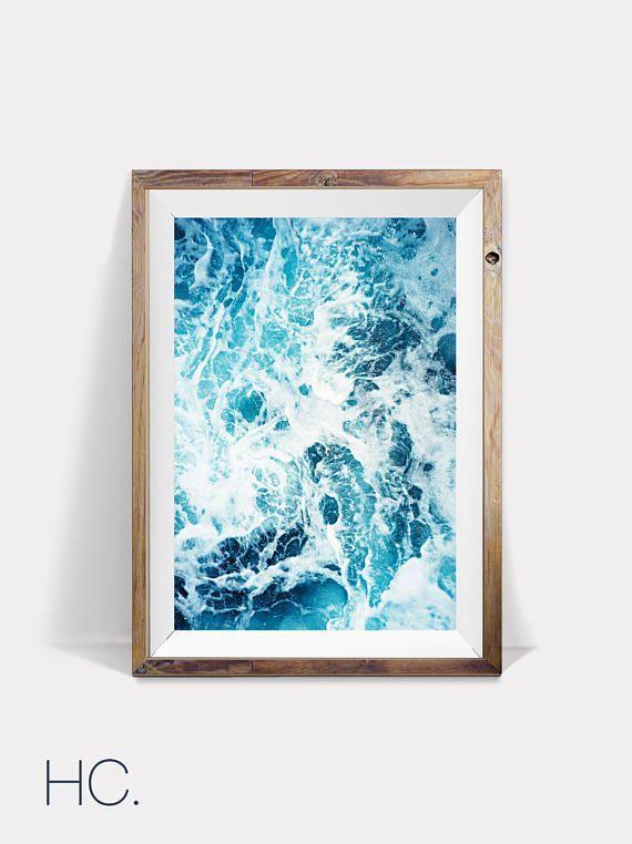 Ocean Wall Art Wave Art Blue Wall Art Blue Water Decor Modern Ocean Print Nautical Printable Poster Turq Ocean Wall Art Pastel Wall Art Tropical Wall Art