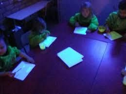 thema licht en donker - Schilderen met fluoverf