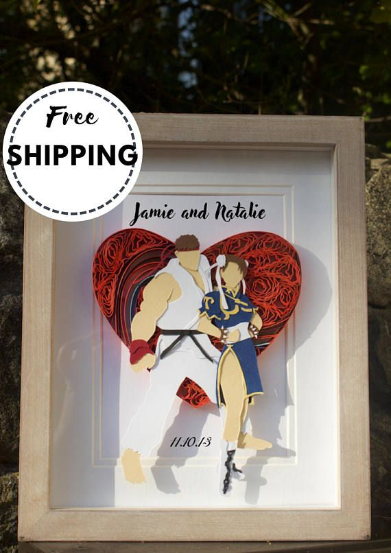 Quilled Paper Cutting Art Street Fighter Couples Gamer Wedding