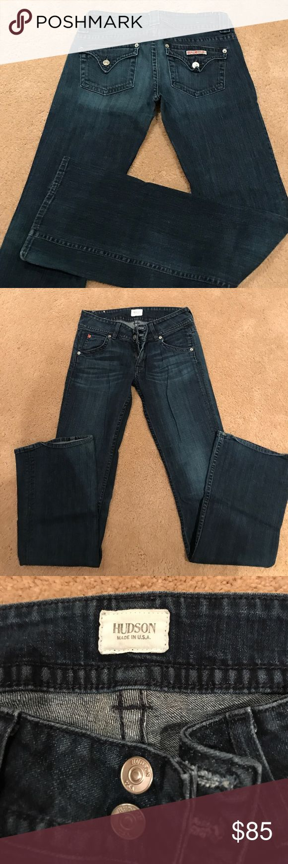 Hudson Womens Bootcut Jeans 27 Hudson womens jeans.  Signature bootcut style.  Medium dark blue rinse.  Back flap pockets.  98% cotton, 2% elastan.  Semi stretchy, super soft.  Great condition.  Size 27. Hudson Jeans Jeans Boot Cut