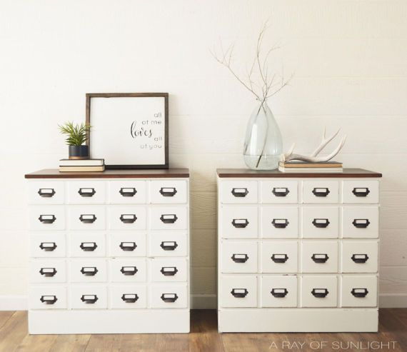 Card Catalog Chest of Drawers, Apothecary Cabinet, Large Nightstand Dressers, White Farmhouse Furniture, Painted Furniture, Rustic Bedroom