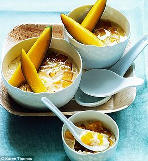Steamed Coconut, Mango and Lime Custards