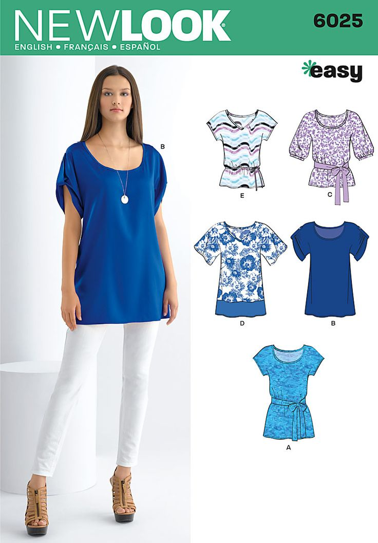 Simplicity New Look 6025 - Misses' tunic or top with sleeve variations and tie belt. I really like variations E and D.