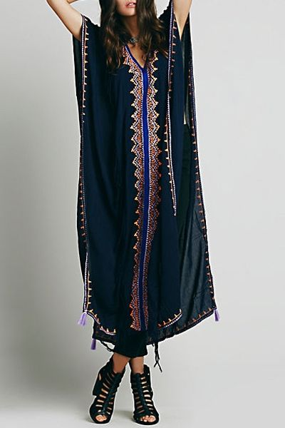 Embroidered High Slit Cape Dress