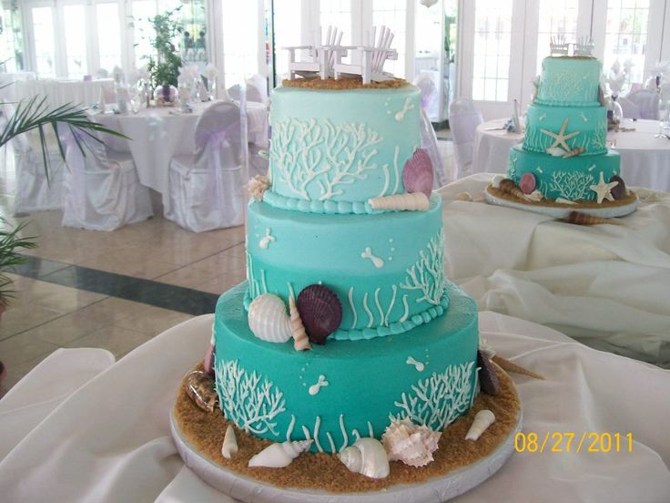 Turquoise Ocean And Beach Coral Wedding Cake Idea St Pete Florida Weddings Cakes By Carolynn Teal