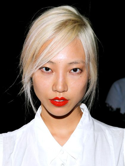 """MEDIUM SKIN Platinum  If you've ever doubted that Asians could pull off blonde, you've never seen this stunning example. The """"modern, pale platinum"""" shade works on model Soo Joo Park, says Hazan, because it's balanced out by the tinge of yellow in her skin tone. It's a bold look, to be sure, but if you're ready to try it, Hazan recommends asking your colorist for an """"allover ashy blonde with a slight golden or butter tone."""""""