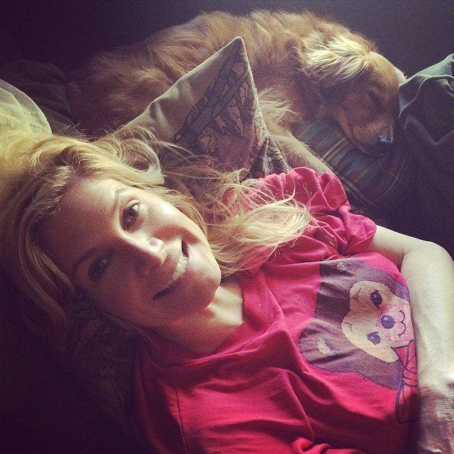 Elizabeth Mitchell and a dog