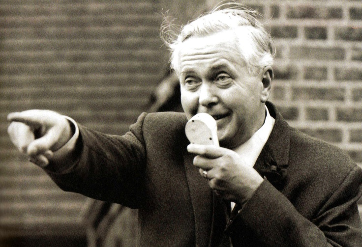Labour Party Leader Harold Wilson talks into a microphpone during a campaign tour of London constituences - 1 October 1964