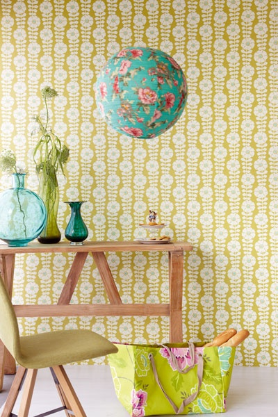 Ochre swirls Perini Wallpaper